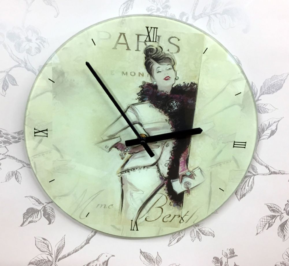 Decorative Glass Paris 50's Fashion Wall Clock
